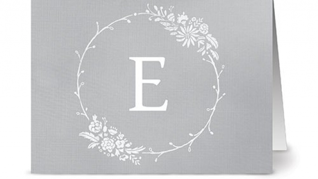 Floral Monogram 'E' Smoke – 24 Cards – Blank Cards w/ Grey Envelopes Included