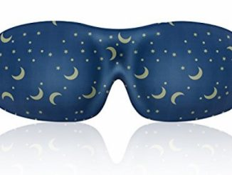 Lonfrote Star Moon Deep Molded Sleep Mask, with ear plug and carry pouch lightweight & comfortable eye mask, Super Soft Material (Blue)
