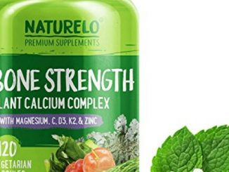 NATURELO Bone Strength – with Plant Calcium, Magnesium, Vitamins C, D3, & K2 – Best Whole-Food Supplement for Bone Health – 120 Vegetarian Capsules