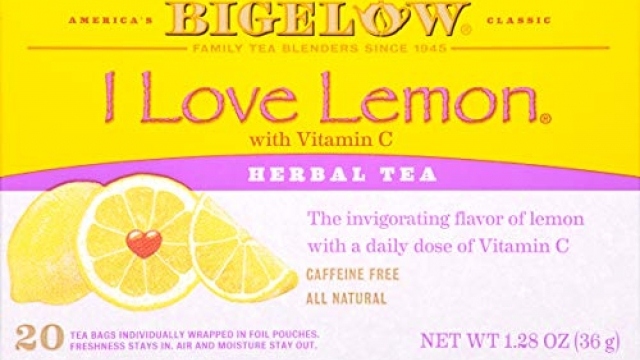 Bigelow I Love Lemon Herbal Tea Bags 20-Count Boxes (Pack of 6) Caffeine-Free Individual Herbal Tisane Bags, for Hot Tea or Iced Tea, Drink Plain or Sweetened with Honey or Sugar