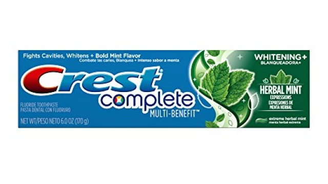 Crest Complete Multi-Benefit Whitening Plus Herbal Mint Flavor Expressions Toothpaste, 6.0 oz (Pack of 6)