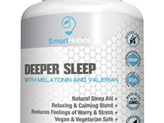 SmartHabits Deeper Sleep Natural Sleeping Aid with Melatonin and Valerian Root | Vegan | 60 Veg Caps Non-Habit Forming, Herbal Adult Pills | 100% Safe | 5-HTP, Chamomile, GABA, Magnesium, Mood Support