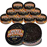 Smokey Mountain Herbal Snuff - Peach - 10-Can Box - Nicotine-Free and Tobacco-Free - Herbal Snuff - Great Tasting & Refreshing Chewing Tobacco Alternative