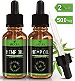 (2 Pack | 60mL) Hemp Oil for Pain Relief Anxiety Sleep Mood Stress Support - 500mg - Best Pure Natural Organic Vitamins Fatty Acids Hemp Seed Extract Tincture Drops, Zero THC